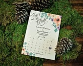 Pastel Floral Calendar Save the Date,Printed 5x7