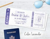 Passport invitation Boarding Pass Save the date Postcard magnet, Adventure is calling Purple watercolor world map, Travel Ticket Wedding