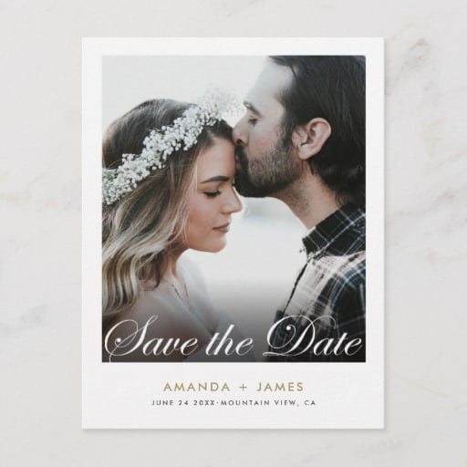 Simple Elegant Script Photo Custom Save the Date Announcement Postcard