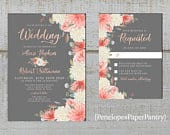 Elegant Gray Floral Summer Wedding Invitations,Coral,Peach,Ivory,Roses,Eucalyptus,Calligraphy,Shimmery,Printed Invitation,Envelope