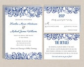 Gardenia Lace Wedding Invitation Template for Instant Download Invitation Suite NAVY BLUE