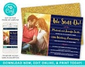 Vow Renewal Invitation, We Still Do Invitations, Wedding Anniversary Template, Navy and Gold Glitter Invitation with Photo, Instant Download