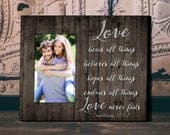 Valentines Gift, Personalized Picture Frame, Wedding Gift, Anniversary Gift, Love Never Fails, Personalized Frame, Gift for Bride