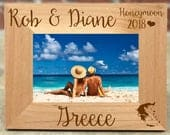 Personalized Greece Honeymoon Picture Frame, Wedding Gift, Wedding Photo Frame, Honeymoon Gift, Greece Honeymoon, Best Selling Items