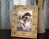 Japanese Vacation Personalized Picture Frame Engraved with Text and Font Selection (Select Photo Size and Frame Orientation)