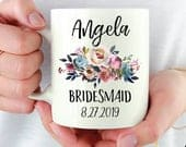 SALE Bridesmaid mug, Bridesmaid coffee mug, Bridal party gift, Bridesmaid mug with flowers, Happyism, Personalized mug, Bridesmaid gift