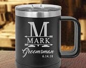 Monogram Groomsman Coffee Mug, Insulated Groomsmen Travel Coffee Mug, Best Man Mug Gift, Groom gift,Vacuum Insulated Mug with Slider Lid