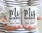 Couple Mug Set of 2 Mugs Gift for Couples Mr Mrs Last Name, Coffee Mugs Valentines Gift, Wedding Anniversary Gift (Item PMR800)