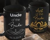 WEDDING GIFT CUSTOM coffee mug set Aunt of the bride and Uncle of the bride wedding favors, Thank you from bride and groom for the I do crew