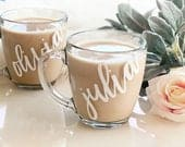 Bridesmaid Mugs Personalized Coffee Mugs Coffee Mug for Women Gifts Glass Coffee Mugs with Name Bridesmaid Gift Ideas (EB3289P)