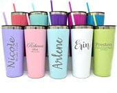 Tumbler with Straw / Insulated Cup / Bridesmaid Gift / Personalized Tumbler / Coffee Mug / Custom Tumbler / Metal Tumbler, Coffee tumbler
