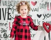 Girls Valentines dress buffalo plaid dress Valentines Day outfit Christmas dress monogrammed Christmas outfit DRESS ONLY