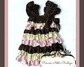 Brown, Pink and Ivory Satin Ruffled Baby Girls Party Dress Only 1 left SALE!!!