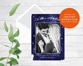Starry Night save the date card, Photo save the date cards, written in the stars, photo save the date, magnetic save the date card