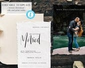 Wedding Save The Date Template Simple Calligraphy Photo Save The Date Template Printable Photo Save the Date Templett Instant Download