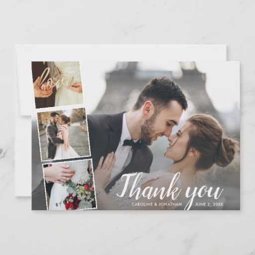 Wedding Thank You Photo Collage 5x7 Postcard