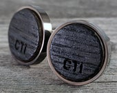 Cufflinks Crafted from a Bourbon Barrel / Best Man Cufflinks / Custom Cufflinks / Personalize with Initials / Wedding Gift / Groomsmen