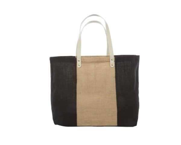 Black and Natural Color Block Jute Tote - Personalization Available
