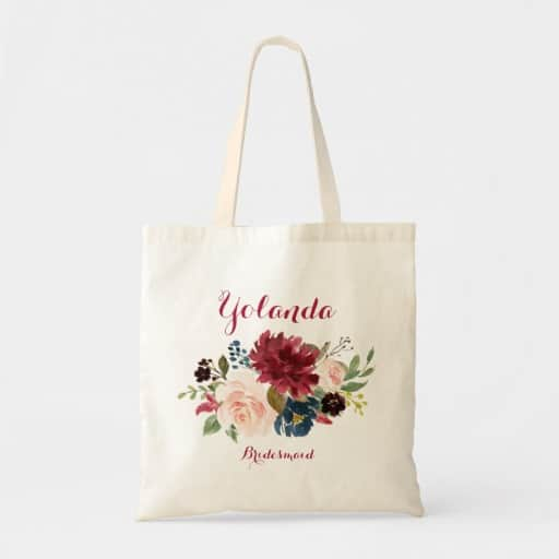 personalized Burgundy Bridesmaid Wedding Gift Tote