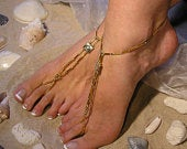 Swarovski Crystals and 14 Karat Gold Filled Barefoot Sandals Happi Feet Handmade Pair Nude Beach Wedding Shoes The Nellie HF11