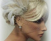 Bridal Veil AND Fascinator, Feather Fascinator, Wedding Hair Clip, French Net Bridal Veil, Ivory bridal Fascinator, Wedding Fascinator Veil