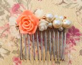 Pearl and Flower Rose Gold Comb Hair comb, Bridal accessory, Wedding hair comb
