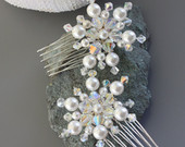 PEARL SNOWFLAKE Combs with Swarovski Crystals and Pearls, Winter Wedding, Holiday, Christmas, Hair Accessory, Iridescent, Small Combs