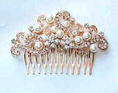 Rose Gold Hair Comb, Rose Gold Bridal Comb, Crystal Pearl Rose Gold Hair Piece, Rhinestone Rose Gold Wedding Hair Clip Accessory