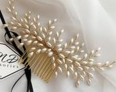 Pearl hair comb, Wedding ivory color pearl headpiece, Bridal gold headpiece, Champagne color, bridesmaids prom jewelry