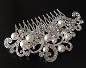 Wedding hair comb, Pearl bridal hair comb, bridal hair accessories, wedding hair accessory, crystal hair comb, vintage comb, veil comb jewel