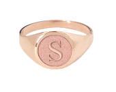 14K Solid Gold Initial Signet Ring Personalized Name Initial 3D Engraving Name Monogram Initials Engraved Cameo Style Round Cigar Band