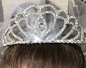 Tiara Veil, Bachelorette party veil, Fun party veil, princess tiara veil, wedding veil, Party Veil