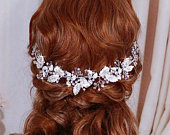 Floral Hair Wreath Bride Headpiece Headband Bridal Wedding Vine Hairband Weddings Hair Accessory Jewelry Accessories Head Piece Hairpiece