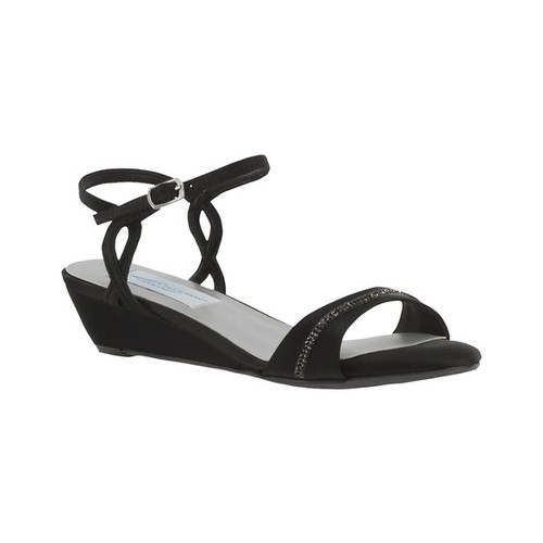 Women's Dyeables Mallory Wedge, Size: 11 W, Black Satin