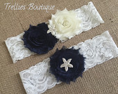 Starfish Navy Blue Ivory Lace Rhinestone Pearl Bridal Garter Set, Wedding Garter, White, Ivory, Wedding, Headband