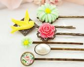 Pink Rose Bobby Pin Set, Ivory Pearl Cream Hairpins, Green Daisy Hair Pin Bun, Yellow Dove Decorative Floral Hair Pieces Mint Coral H4068