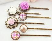 Rose Bobby Pin Set, Pink Flower Decorative Hair Pin, White Floral Hair Accessory, Dragonfly Hair Clip, Blush Pearl Purple Vintage H4153