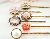 Dusty Rose Hair Clips, Taupe Bobby Pin Set, Peach Floral Pins, Pink Decorative Bobbies Violet Hairpin Mauve Hair Pieces Ivory Pearl H4151