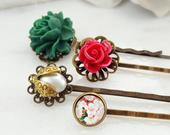 Red Decorative Hairpins for Christmas, White Rose Flower Hair Clip, Green Floral Hairpiece, Four Bobby Pins, Ivory Pearl Ladybug Slide H4063