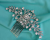 Silver Wedding Hair Comb, Rhinestone Bridal Comb, Crystal Wedding Hair Comb, Vintage Look Headpiece, Bridal Side Comb CO025