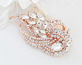 Bridal Rose Gold Comb Rhinestone Hair Piece Vintage Wedding Accessory Art Deco Bridal Hair Clip Statement Rose Gold Crystal Combs