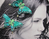 2 GREEN EMERALD Feathers Butterflies Hair Clips for weddings