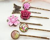 Pink Bobby Pin Set of 6, Decorative Maroon Hair Pins, Glitter Hairpins, Red Rose Floral, Vintage Butterfly, Violet Flower Hair Clips H4109