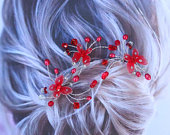 Red Butterfly, Bridal Hair Pins, Set of 3, Butterfly Hair Pins, J188