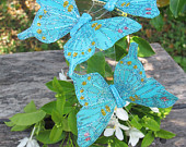 3 Turquoise with Glitter Feathers Butterflies Hair Clips for weddings