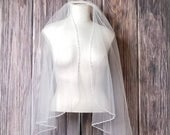 42 L Crystal Edge Fingertip Veil with Clear Bugle Beads Cascade/Angel Cut Style