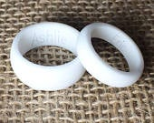 Pick 2! His Hers Personalized Silicone Rings. Customized Engraved Wedding Bands