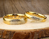 Your Actual Finger Print Rings, Special Custom Christmas Gifts for Couple, His Hers Matching 18K Gold Wedding BandsTitanium Rings Set