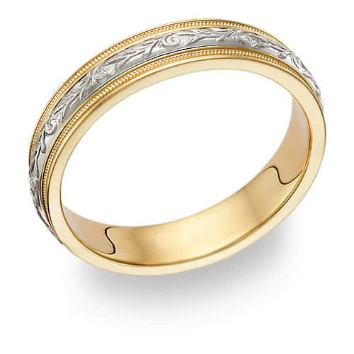 Women's Paisley Wedding Band Ring in 14K Gold and Silver