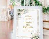 Greenery gold welcome sign, Wedding printable, Welcome sign template editable, Custom summer wedding sign, Watercolor leaves, Downloadable